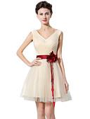 ราคาถูก Special Occasion Dresses-A-line คอวี สั้น / มินิ Tulle แต่งตัว กับ ริบบิ้น / กากะบาท โดย JUDY&JULIA