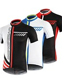 ราคาถูก เคสสำหรับโทรศัพท์มือถือ-BERGRISAR สำหรับผู้ชาย แขนสั้น Cycling Jersey สีดำ / สีแดง สีฟ้า+สีขาว สีดำ / สีขาว สลับ จักรยาน เสื้อยืด Tops ขี่จักรยานปีนเขา Road Cycling ระบายอากาศ แห้งเร็ว แถบสะท้อนแสง กีฬา 100% โพลีเอสเตอร์