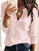 ราคาถูก เสื้อยืดสำหรับสุภาพสตรี-สำหรับผู้หญิง เสื้อเชิร์ต คอวี เพรียวบาง สีพื้น ขาว / ฤดูใบไม้ผลิ / ฤดูร้อน / ตก / ฤดูหนาว