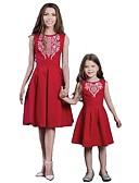 povoljno Obiteljski komplet odjeće-Mama i mene Aktivan Osnovni Jednobojni Geometrijski oblici Print Bez rukávů Regularna Do koljena Normalne dužine Pamuk Haljina Red