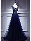 זול שמלות נשף-גזרת A צלילה עד הריצפה טול גב יפהפייה ערב רישמי שמלה עם אפליקציות על ידי LAN TING Express