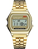 ราคาถูก นาฬิกาดิจิตอลสตรี-สำหรับผู้หญิง นาฬิกาดิจิตอล นาฬิกาสแควร์ ดิจิตอล สแตนเลส ยางทำจากซิลิคอน ดำ / เงิน / ทอง โครโนกราฟ noctilucent นาฬิกาใส่ลำลอง ดิจิตอล วิบวับ แฟชั่น - สีดำ สีเงิน สีดำ+สีขาว / หนึ่งปี / หนึ่งปี
