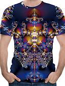 ราคาถูก เสื้อยืดและเสื้อกล้ามผู้ชาย-สำหรับผู้ชาย ขนาดของยุโรป / อเมริกา เสื้อเชิร์ต ลายพิมพ์ คอกลม ลายบล็อคสี / 3D / Tribal สีม่วง