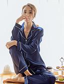 baratos Pijamas-Mulheres Colarinho de Camisa Conjunto Pijamas Sólido