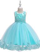 Χαμηλού Κόστους Λουλουδάτα φορέματα για κορίτσια-Παιδιά Κοριτσίστικα Ενεργό Γλυκός Μονόχρωμο Κεντητό Αμάνικο Ασύμμετρο Φόρεμα Λευκό