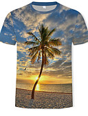 Χαμηλού Κόστους Men's Hats-Ανδρικά T-shirt Βασικό / Μπόχο Συνδυασμός Χρωμάτων / 3D Στρογγυλή Λαιμόκοψη Στάμπα Ουράνιο Τόξο / Κοντομάνικο