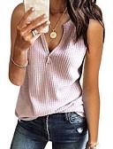 ราคาถูก เสื้อยืดสำหรับสุภาพสตรี-สำหรับผู้หญิง เสื้อเชิร์ต คอวี สีพื้น สีแดงชมพู / ฤดูใบไม้ผลิ / ฤดูร้อน / ตก