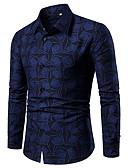 baratos Camisas Masculinas-Homens Tamanho Europeu / Americano Camisa Social Geométrica Algodão Delgado Azul