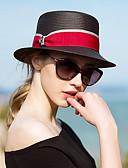 ราคาถูก หมวกสตรี-สำหรับผู้หญิง ลายบล็อคสี Straw ซึ่งทำงานอยู่-หมวกบัคเก็ต ฤดูใบไม้ผลิ ฤดูร้อน สีดำ
