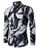 baratos Camisas Masculinas-Homens Camisa Social Abstrato Delgado Branco / Manga Longa