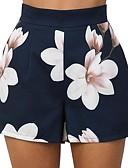 ราคาถูก กางเกงผู้หญิง-สำหรับผู้หญิง พื้นฐาน กางเกงขาสั้น กางเกง - ลายดอกไม้ สีน้ำเงิน M L XL