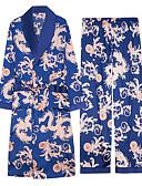 ราคาถูก จั้มสูทผู้ชาย & ชุดสวมทั้งตัว-สำหรับผู้ชาย ปกคอแบะของเสื้อแบบผ้าคลุม ชุด ชุดนอน ลายบล็อคสี