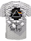 cheap Men's Tees & Tank Tops-Men's Daily T-shirt - Geometric / 3D / Letter Print Round Neck White / Short Sleeve