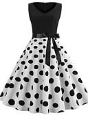 Χαμηλού Κόστους Βίντατζ Βασίλισσα-Γυναικεία Βίντατζ Κομψό Θήκη Φόρεμα - Πουά, Με Κορδόνια Πάνω από το Γόνατο