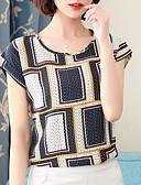 ราคาถูก เสื้อผู้หญิง-สำหรับผู้หญิง เสื้อเชิร์ต รูปเรขาคณิต สีน้ำเงินกรมท่า