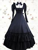 povoljno Stare svjetske nošnje-Vintage Princess Lolita Elegantno Haljine Cosplay Nošnje Ženska Japanski Cosplay Kostimi Crn / Bež Kolaž Dugih rukava Maxi Dugi Duljina