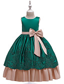 Χαμηλού Κόστους Λουλουδάτα φορέματα για κορίτσια-Πριγκίπισσα Μακρύ Μήκος Φόρεμα για Κοριτσάκι Λουλουδιών - Βαμβάκι / Δαντέλα / Σατέν Αμάνικο Με Κόσμημα με Φιόγκος(οι) / Κέντημα / Ζώνη