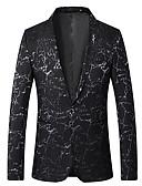 ราคาถูก เบลเซอร์ &สูทผู้ชาย-สำหรับผู้ชาย เสื้อคลุมสุภาพ, สีพื้น / ลายโค้ง ปกคอแบะของเสื้อแบบน็อตช์ เส้นใยสังเคราะห์ / สแปนเด็กซ์ สีน้ำเงิน / สีดำ / ทับทิม