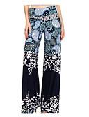 baratos Calças & Saias de Couro-Mulheres Básico Legging - Estampado, Estampado Cintura Média Azul Preto XXXL XXXXL XXXXXL