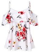 ราคาถูก เสื้อเอวลอยสำหรับผู้หญิง-สำหรับผู้หญิง เสื้อสตรี สาย เพรียวบาง ลายดอกไม้ สีดำ