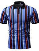 povoljno Muške polo majice-Veličina EU / SAD Polo Muškarci Prugasti uzorak Kragna košulje Plava