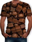 baratos Camisetas & Regatas Masculinas-Homens Camiseta Estampado, 3D Decote Redondo Marron