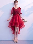Χαμηλού Κόστους Φορέματα κοκτέιλ-Γραμμή Α Λαιμόκοψη V Ασύμμετρο Τούλι χαριτωμένο στυλ Κοκτέιλ Πάρτι / Χοροεσπερίδα Φόρεμα 2020 με Βαθμίδες / Εισαγωγή δαντέλας