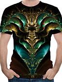 ราคาถูก เสื้อยืดและเสื้อกล้ามผู้ชาย-สำหรับผู้ชาย ขนาดของยุโรป / อเมริกา เสื้อเชิร์ต ลายพิมพ์ คอกลม 3D ใบไม้สีเขียวที่มีสามแฉก