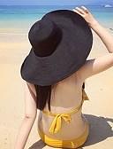 ราคาถูก กระโปรงผู้หญิง-สำหรับผู้หญิง สีพื้น ผ้าลินิน Straw ซึ่งทำงานอยู่ 1930s-หมวกปีกกว้าง หมวกสาน ฤดูร้อน สีดำ ทับทิม สีกากี