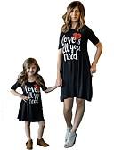 povoljno Obiteljski komplet odjeće-Mama i mene Aktivan Osnovni Geometrijski oblici Slovo Print Kratkih rukava Regularna Do koljena Normalne dužine Pamuk Haljina Crn