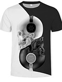 baratos Camisetas & Regatas Masculinas-Homens Camiseta Moda de Rua / Exagerado Estampado, Estampa Colorida / 3D / Caveiras Decote Redondo Preto / Manga Curta