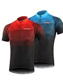 ราคาถูก เคสสำหรับโทรศัพท์มือถือ-BERGRISAR สำหรับผู้ชาย แขนสั้น Cycling Jersey สีดำ / สีแดง ส้ม สีเขียว ไล่โทนสี จักรยาน เสื้อยืด Tops ขี่จักรยานปีนเขา Road Cycling ระบายอากาศ แห้งเร็ว แถบสะท้อนแสง กีฬา 100% โพลีเอสเตอร์ เสื้อผ้าถัก
