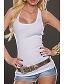 ราคาถูก รถถังสตรีและเสื้อชูชีพ-สำหรับผู้หญิง เสื้อกล้าม คล้องไหล่ สีพื้น ขาว