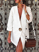 baratos Blazers Femininos-Mulheres Primavera / Verão / Outono Terno, Sólido Decote V Poliéster Branco / Amarelo / Khaki / Solto