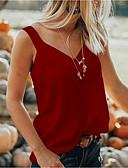 ราคาถูก เสื้อยืดสำหรับสุภาพสตรี-สำหรับผู้หญิง ขนาดพิเศษ เสื้อเชิร์ต คอวี สีพื้น สีเทา