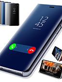 זול מגנים לטלפון-מגן עבור OnePlus OnePlus 6 / One Plus 6T עם מעמד / ציפוי / מראה כיסוי מלא אחיד קשיח עור PU