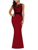 זול שמלות שושבינה-מקסי תחרה, אחיד - שמלה צינור נדן בסיסי בגדי ריקוד נשים
