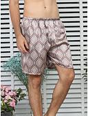 ราคาถูก ชุดนอน&ชุดคลุมอาบน้ำสำหรับผู้ชาย-สำหรับผู้ชาย คอกลม ซาตินและผ้าไหม ชุดนอน รูปเรขาคณิต