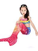 ราคาถูก คอสเพลย์ชุดว่ายน้ำ-คอสเพลย์และคอสตูม ชุดว่ายน้ำ บีกีนี่ The Little Mermaid หางนางเงือก Aqua Princess สำหรับเด็ก Lycra® คอสเพลย์และคอสตูม Mermaid and Trumpet Gown Slip คอสเพลย์ ทับทิม เงือก / Top
