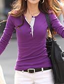 ราคาถูก เสื้อเชิ้ตสำหรับสุภาพสตรี-สำหรับผู้หญิง เชิร์ต เพรียวบาง สีพื้น ทับทิม