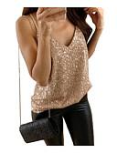 ราคาถูก จั๊มสูทและเสื้อคลุมสำหรับผู้หญิง-สำหรับผู้หญิง ขนาดพิเศษ เสื้อกล้าม แสงระยิบระยับ คอวี สีพื้น สีทอง / ฤดูใบไม้ผลิ / ฤดูร้อน / ตก / ฤดูหนาว