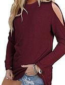 povoljno Majica s rukavima-Veći konfekcijski brojevi Majica s rukavima Žene Jednobojni Širok kroj, Spuštena ramena Lila-roza / Proljeće / Ljeto / Jesen / Zima