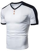 billiga Herrtröjor-Lappverk, Enfärgad / Färgblock Sport EU / US-storlek T-shirt - Grundläggande Herr V-hals Svart / Kortärmad