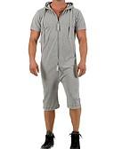 ราคาถูก จั้มสูทผู้ชาย & ชุดสวมทั้งตัว-สำหรับผู้ชาย สีดำ เทาอ่อน เทาเข้ม ชุด Jumpsuits Onesie, สีพื้น M L XL