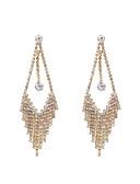 Χαμηλού Κόστους Γυναικεία Πουλόβερ-Γυναικεία Κρεμαστά Σκουλαρίκια Μακρύ Στυλάτο Νυφικό Προσομειωμένο διαμάντι Σκουλαρίκια Κοσμήματα Χρυσό Για Γάμου Αρραβώνας 1 Pair