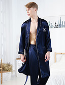 ราคาถูก ชุดนอน&ชุดคลุมอาบน้ำสำหรับผู้ชาย-สำหรับผู้ชาย ปกคอแบะของเสื้อแบบผ้าคลุม ชุด ชุดนอน สีพื้น