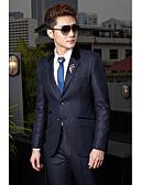 ราคาถูก เสื้อผู้หญิง-สีน้ำเงินเข้ม สีพื้น / ลายแถบ Standard Fit ฝ้าย / เส้นใยสังเคราะห์ สูท - ปกกว้าง กระดุมสองเม็ดเรียงแถวเดียว / ชุด