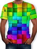 billige T-skjorter og singleter til herrer-Rund hals T-skjorte Herre - 3D / Regnbue, Trykt mønster Regnbue / Kortermet