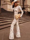 ราคาถูก บอดี้สุท-สำหรับผู้หญิง พื้นฐาน ครูเน็ค สีดำ ขาว ขากว้าง ชุด Jumpsuits Onesie, รูปเรขาคณิต ลูกไม้ S M L ฤดูใบไม้ผลิ ฤดูร้อน ตก / ฤดูหนาว