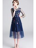 ราคาถูก Special Occasion Dresses-A-line อัญมณี ต่ำกว่าเข่า Tulle แต่งตัว กับ ลายปัก โดย LAN TING Express